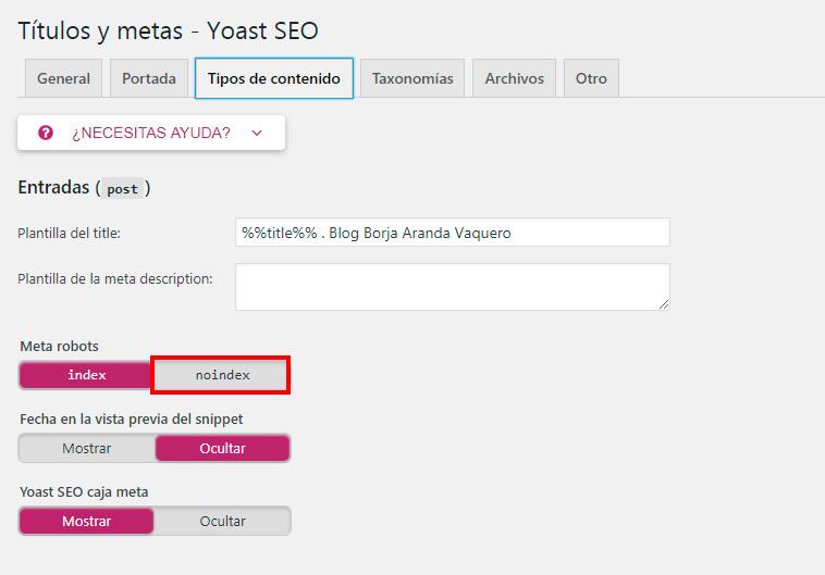 eliminar thin content con yoast seo