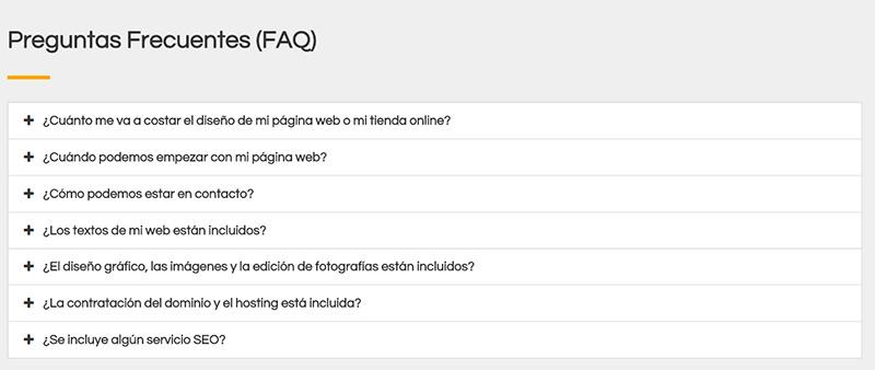 preguntas frecuentes de diseño web clicables