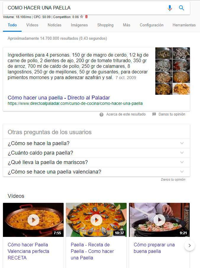 como hacer una paella en google