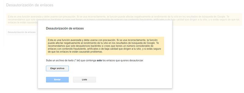 desautorizacion de enlaces con google disavow