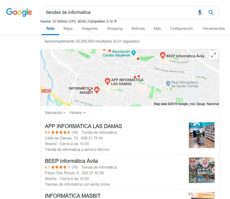 resultados seo local en las serps