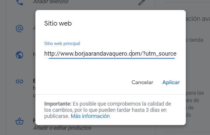 url parametrizada para google my business