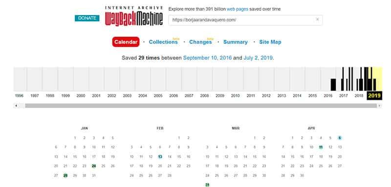 web archive ejemplo