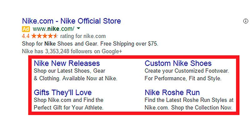 ejemplo sitelinks de ads