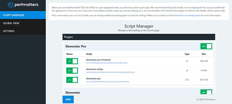 script manager en perfmatters