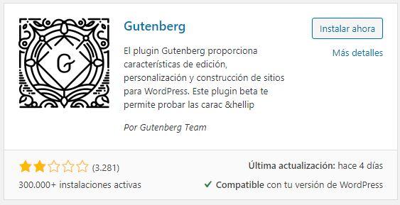 instalar editor wordpress gutenberg