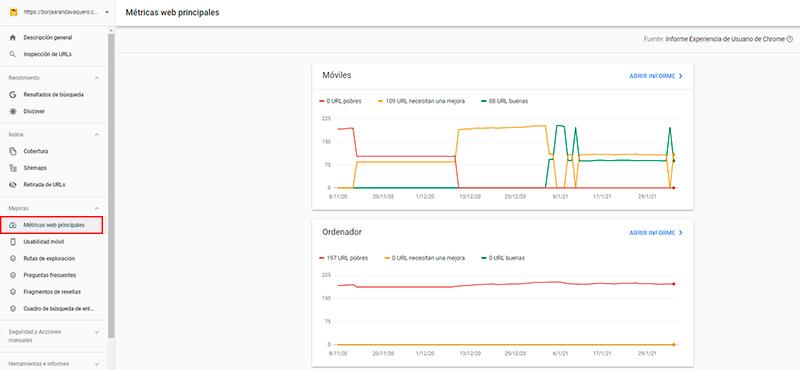 core web vitals en search console