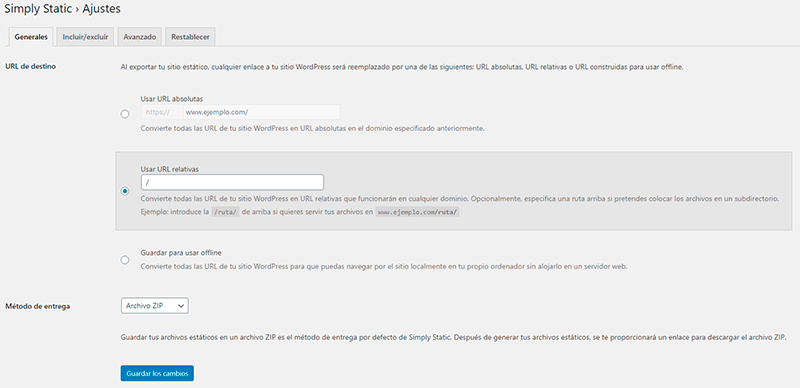 plugin para convertir pagina web WordPress en html simply static